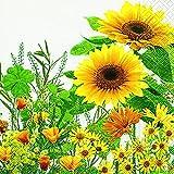 Cocktail Servietten Serviett 25x25 cm (Yellow meadow) Sonnenblumen Sonne Wiese Gelb Frühling Sommer Ostern Sonne Blumen Tiere Garten Früchte