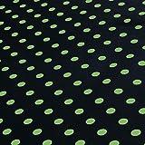 NOVELY® Oxford 210D Polyester Stoff schwarz grüne Punkte