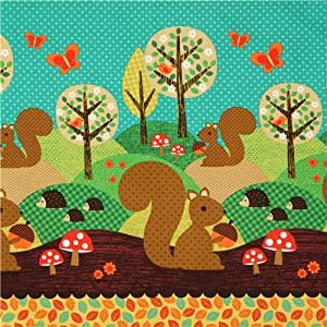 Tissu Michael Miller Nuts for Dinner vert animaux forestiers