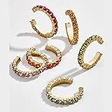 AISE 6pcs Set di Polsini Non Perforati per Donna, Orecchini a Clip con zirconi Colorati, orecchino impilabile in cartilagine