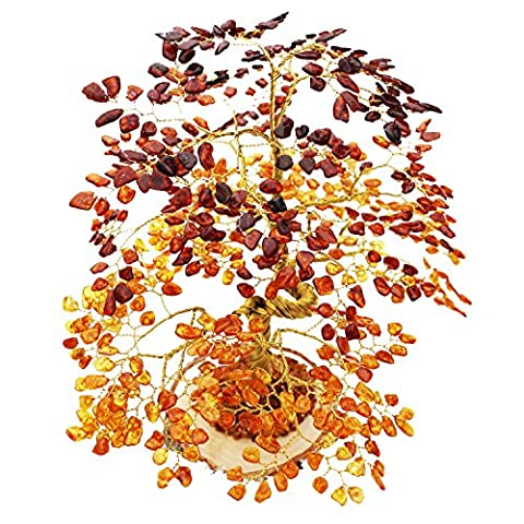 Large Cognac Amber OAK Tree (630 amber leaves) mounted on natural wood, handmade, new home, house warming