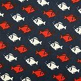 0,5m Stoff Fische rot & weiß auf dunkelblau 100% Baumwolle