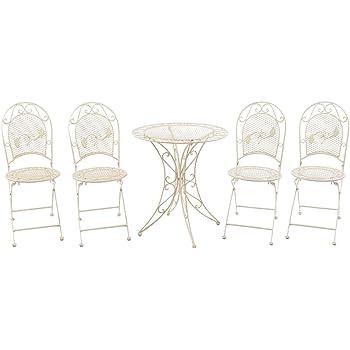 Set Garnitur Garten Tisch Und 4 Stühle Eisen Gartenmöbel Antik Stil Creme  Weiss