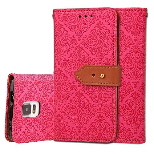 YHUISEN Galaxy Note 4 Case, Magnetverschluss European Style Wandgemälde Prägeartig PU Leder Flip Wallet Case Mit Stand Und Card Slot Für Samsung Galaxy Note 4 ( Color : Rose ) Rose