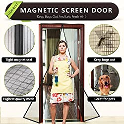 """Hoobest Magnetic Fly Screen Door, Heavy Duty Mesh Screen and Full Frame Velcro,Keep Bugs Out Lets Fresh Air In. No More Mosquitoes or Insects. Instant Bug Mesh Fits Door Openings Up to 34""""x82"""" Max (Black)"""