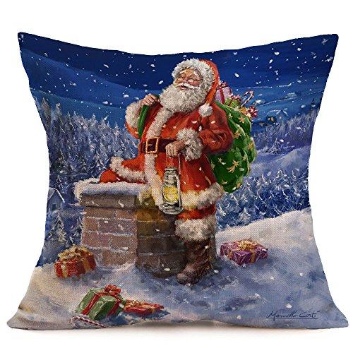 45cmx45cm Frohe Weihnachten Leinen Santa Kissenbezüge Sofakissenbezug Home Decoration Dekokissenbezug Kissenbezüge