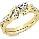 DazzlingRock Collection - Anillo de Compromiso de Oro de 10 Quilates con Diamantes Redondos para Novia, 3 Piedras, 1/2 CT