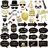 Konsait 60e Anniversaire Fête Photo Booth Props, 51 Pcs Bricolage Anniversaire Photo Booth Lunettes Moustaches Chapeaux Masquerade Accessoires pour Hommes Femmes 60 Ans Anniversaire Decoration