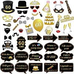 Idea Regalo - 60 anni compleanno Photo Booth Props (51Pcs) per 60 ° compleanno oro e nero decorazioni, Konsait celebrazione Big 60 festa di compleanno foto cabina Accessori per uomo donne