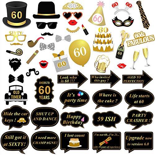 60. geburtstagsparty Photo Booth Fotorequisiten (51Pcs), Konsait Big 60 GeburtstagsParty Gold und schwarze Dekorationen Foto Zubehör für Männer und Frauen