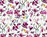 Qualitativ hochwertiger Jersey Stoff mit Blumen in Wasserfarbenoptik auf Weiß als Meterware zum Nähen von Kinder- und Damenkleidung, 50 cm