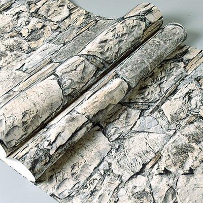 DUOCK Gray 3D di pietra della parete di mattoni di rotoli di carta camera da letto sala da pranzo Soggiorno 3D effetto in finta pietra Wallpaper Rivestimento parete Home Decor, caffè, 53cm X 10M