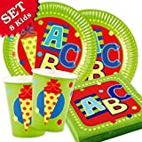 Partyset ABC Kinderparty für 8 Gäste Einweggeschirr 36-teilig Servietten, Becher, Pappteller