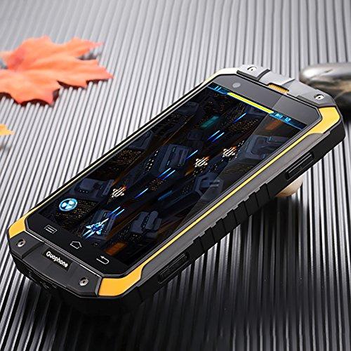Guophone V9 Smartphone IP68 Wasserdicht Outdoor Handy (4 Zoll QHD Touchscreen, Dual-Sim Quad-Core, 1GB Ram + 8GB Rom, Eingebaute GPS-Navigation + AGPS, 4500mAh) (Gelb)
