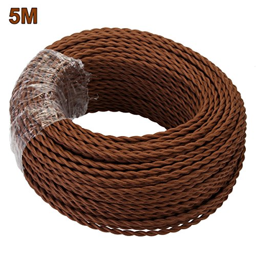 GreenSun LED Lighting 5 metres 2 Cord Brown Textile Cable Twisted Fabric Lamp Flexible Cable Wire Cord Light Braided Cable