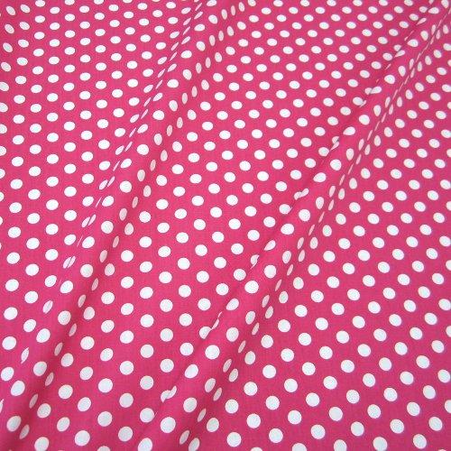 623fb9417b8ba Stoff Baumwollstoff Baumwolle Popeline Punkte gepunktet Tupfen pink weiß 8mm