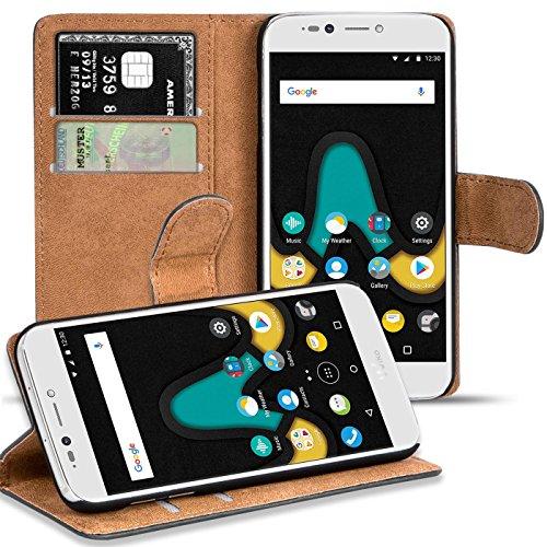 Verco U Pulse Lite Hülle, Handyhülle für Wiko UPulse Lite Tasche PU Leder Flip Case Brieftasche - Schwarz