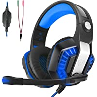 CHEREEKI Gaming Headset for XBOX ONE, PS4, Nintendo Switch, Desktop, Mobile, Tablet, Laptop, Wired Over-head Stereo Gaming Headphones with Mic Noise Cancellation Volume Control LED Lighting