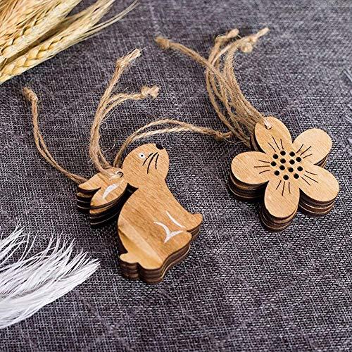 Wovemster Decorazioni Pasquali – JM01126 Coniglio e Fiori In Legno, Ciondolo Stile Nordico Decorazioni per La Casa 8 Pezzi/Pacco - 8