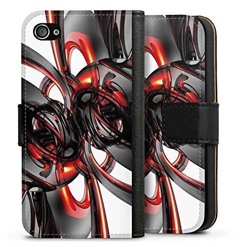 Apple iPhone X Silikon Hülle Case Schutzhülle Strudel Lack Glanz Sideflip Tasche schwarz