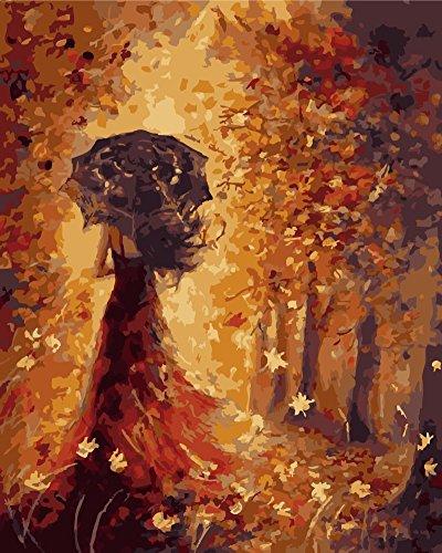 OBELLA Malen nach Zahlen Kits || Schöne Golden Ahorn Blätter, Hübsche Frau Zurück 50 x 40 cm || Malen nach Zahlen, DIGITAL Ölgemälde (Mit (Kit Kuh Zubehör)
