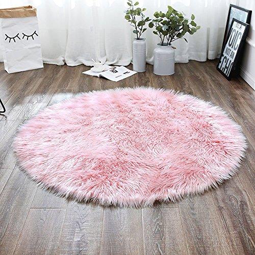 LIYINGKEJI Deluxe weiche moderne Faux Schaffell Shag Teppiche Kinder spielen Teppich für Wohn- & Schlafzimmer Sofa 60 x 60 cm (Rosa) (Teppich Kinder Rosa Shag)