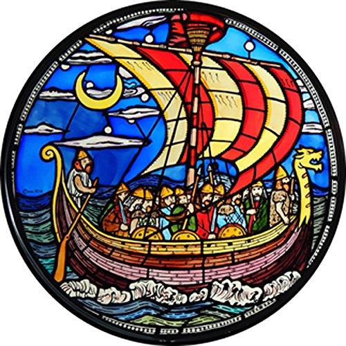 Vidriera adhesiva, estática, diseño de barco vikingo