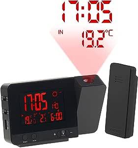 Réveil à projection et station météo sans fil 2 en 1 Noir