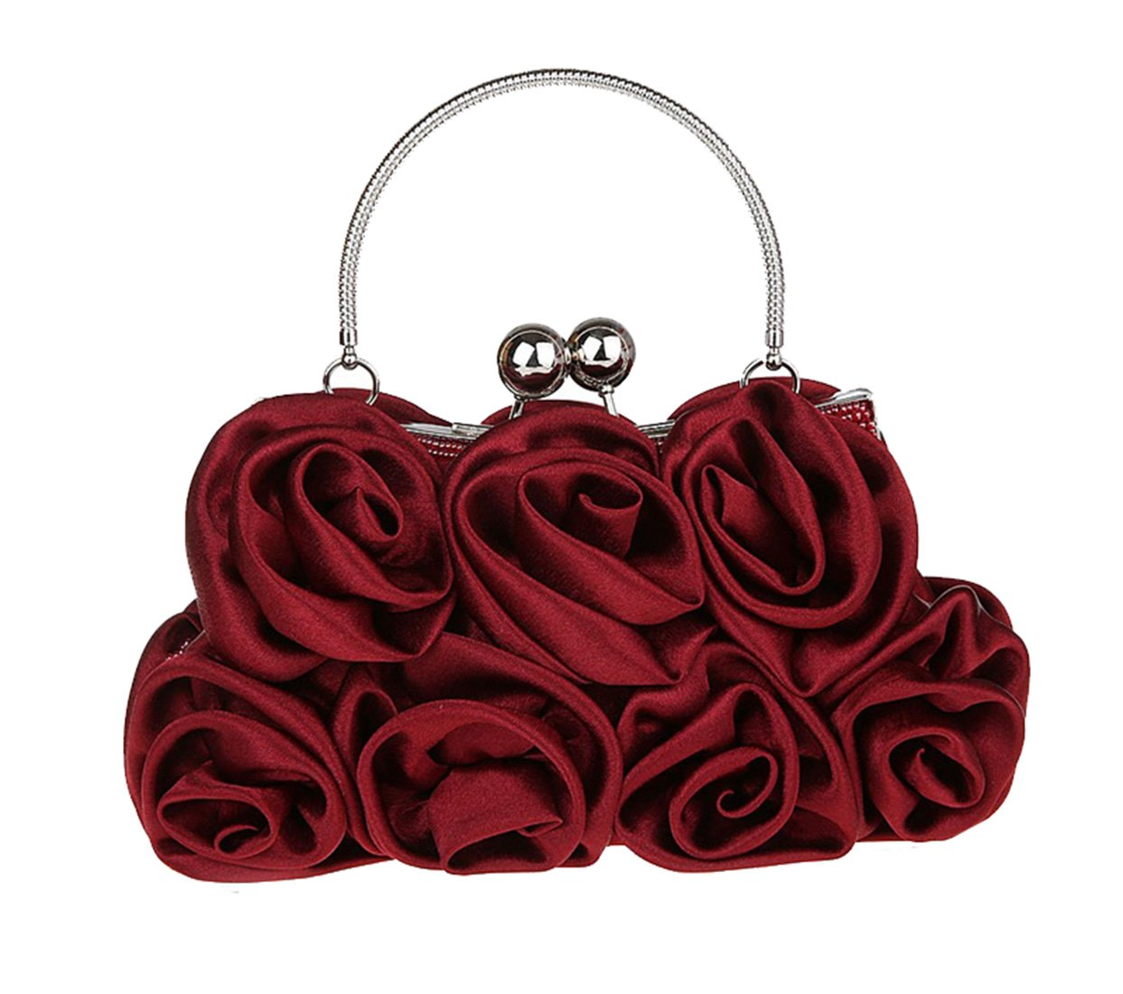 Flower Design Satin Clutch Handbag Evening Wedding Party Handheld Purse  Pouch: Amazon.co.uk: Luggage
