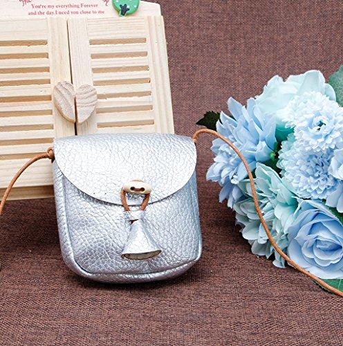 Dairyshop Sacchetti di spalla della borsa delle ragazze dei bambini Borsa della borsa del sacchetto della traversa (Argento) Argento