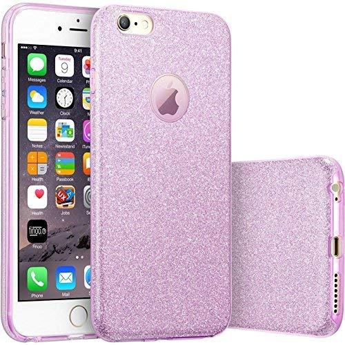 FINOO | iPhone 7 Plus Rundum 3 in 1 Glitzer Bling Bling Handy-Hülle | Silikon Schutz-hülle + Glitzer + PP Hülle | Weicher TPU Bumper Case Cover | Lila