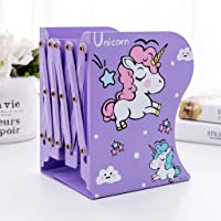 Aarvi Metal Book Shelf / Book Rack Adjustable Bookend Stand Holder in Unicorn Theme for Kids / Boys / Girls Home (Purple…