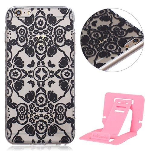 Ekakashop Coque pour Apple iphone 6 Plus/6s Plus (5.5 Pouces), Ultra Slim-Fit Flexible Souple Housse Etui Back Case Cas en Silicone pour iphone 6s Plus, Soft Cristal Clair TPU Gel imprimée Couverture  Fleur Vintage Noir