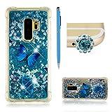 SKYXD Coque pour Samsung Galaxy S9 Plus,Luxe 3D Peint Créatif Papillon Bleu Motif Bling Glitter Écoulement Liquide Paillettes Etui,Transparente Sparkle Briller Quicksands TPU Silicone Cover