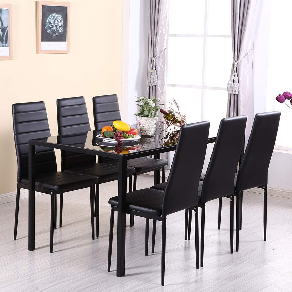 Tavolo In Vetro Con 6 Sedie.Moderna Sala Da Pranzo Mobili Set Nero Rettangolare In Vetro