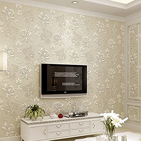BIZHI Contemporary Wallpaper Art Deco 3D Simple Modern Wallpaper Wall Covering Non-woven Fabric Wall Art,M white