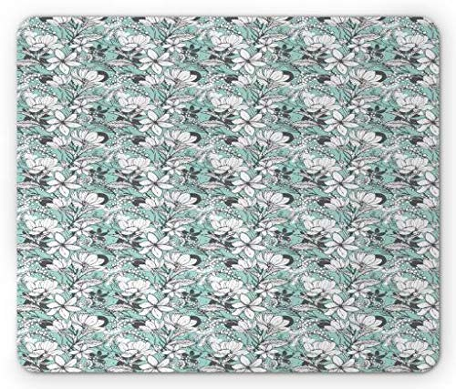 Aqua and Grey Mouse Pad, Botanical Pattern with Artistic Flowers Frangipani Mimosa and Lotus, Standard Size Rectangle Non-Slip Rubber Mousepad, Aqua Grey and White - Aqua Flower Girl