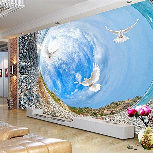 Abihua Wandbilder Benutzerdefinierte Wandbild Tapete-3D Künstlerische Swirl Stein White Cloud Wandbild Malerei Wohnzimmer Sofa 330Cm X 210Cm -