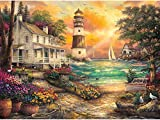 Twuky 5D DIY Diamond Set Full Diamond Diamond Painting Living Room Wall Stickers,Cottage by The Sea(14X18inch/35X45CM)