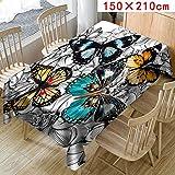 FeiliandaJJ Tischdecke Schmetterling Muster Valentinstag Tischtuch Tisch Cover für Hochzeit Party Outdoor Hotel Valentinstag Home Decor Pflegeleicht,Größen Wählbar (Mehrfarbig, C(150X210cm))