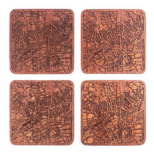 Frankfurt am Main Untersetzer mit Landkarte aus Sapeli-Holz, 4 Stück, mit Stadtkarte, mehrere Stadt optional, handgefertigt