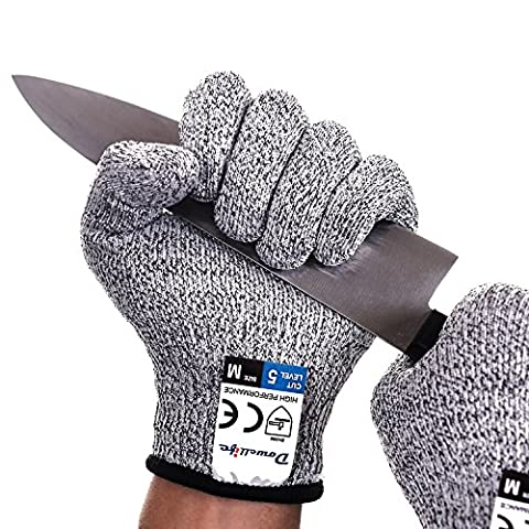 Dowellife - 1 paire de gants résistant à la coupe protection alimentaire de niveau 5. Sécurité alimentaire en cuisine. Gants de coupe pour l'ouverture des huîtres, le traitement du filet de poisson, le tranchage avec une mandoline, la découpe de la viande et la sculpture sur bois.