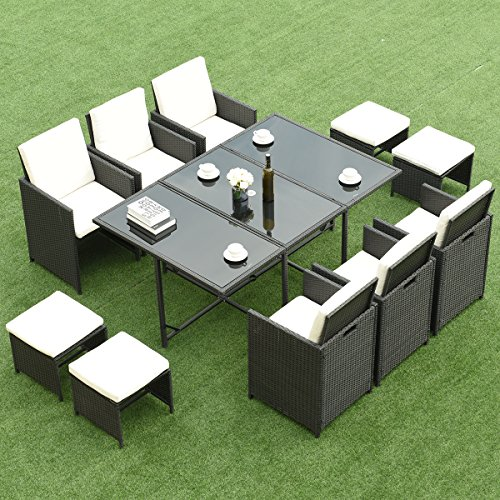 Costway 11 PCS Rattan Furniture Set - Wicker Metal Dining Table Chair Ottoman Set Includes Cushion Conservatory Garden Patio Outdoor
