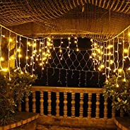 KharidoLive 216 LED Icicle Curtain Lights for Diwali Christmas Home Decoration - 8 Mode Pattern (Warm White, 5