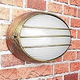 Wandleuchte Gold Antik Maritimer Stil 32cm breit IP44 Aluminium Wandlampe Außen Balkon Eingang Tür