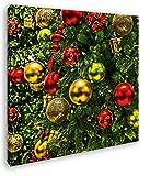 deyoli Schimmernde Weihnachtskugeln Format: 60x60 Effekt: Zeichnung als Leinwandbild, Motiv fertig gerahmt auf Echtholzrahmen, Hochwertiger Digitaldruck mit Rahmen, Kein Poster oder Plakat