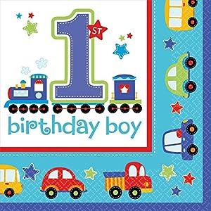 16 Servietten * 1. BIRTHDAY BOY * für Kindergeburtstage oder Motto-Partys // Geburtstag Party Napkins Junge Blau Autos erster 1 Happy Birthday