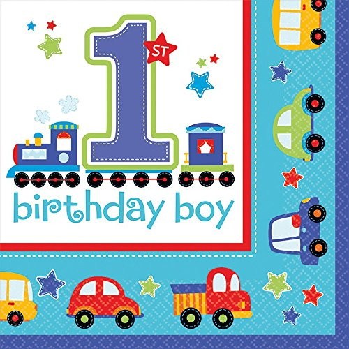 16 Servietten * 1. BIRTHDAY BOY * für Kindergeburtstage oder Motto-Partys // Geburtstag Party Napkins Junge Blau Autos erster 1 Happy Birthday (Auto-geburtstags-party)