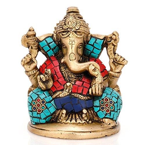 anesha) Statue Hindu Elefanten Gott der Erfolg Echtes Messing Skulptur 10 cm Height Ganesha Mehrfarbig ()