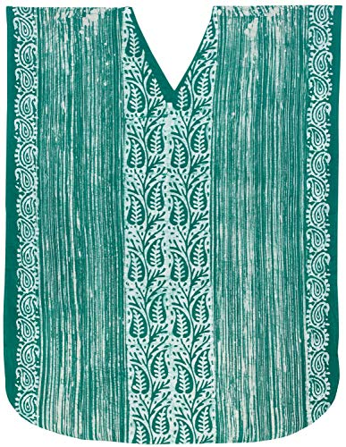 LA LEELA Frauen Damen Baumwolle Kaftan Tunika Batik Kimono freie Größe Lange Maxi Party Kleid für Loungewear Urlaub Nachtwäsche Strand jeden Tag Kleider Grün_X586 -